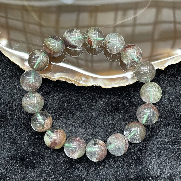 Natural Green Phantom Quartz 17 beads - 41.6g 12.0mm/bead