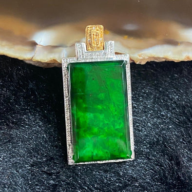 Type A Burmese Jade Jadeite 18k white gold pendant - 2.59g 28.7 by 14.2 by 5.0mm