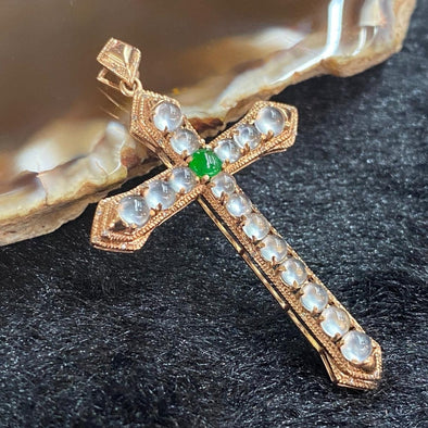Type A Burmese Jade Jadeite 18k Rose Gold Cross - 2.82g 45.9 by 27.8 by 4.6mm