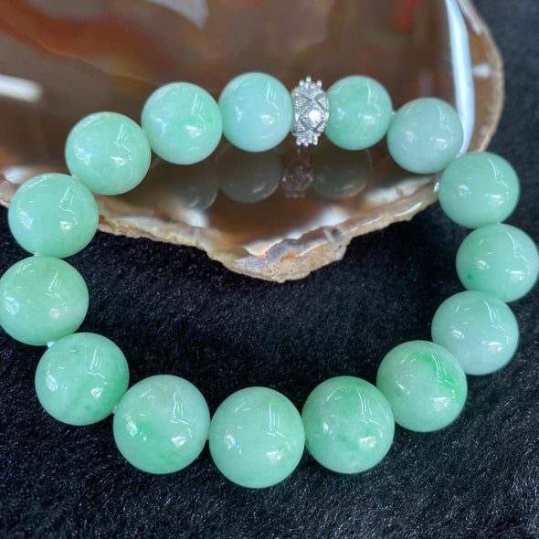 Type A Burmese Apple Green Jade Jadeite Bracelet 69.44g 14mm 15 beads