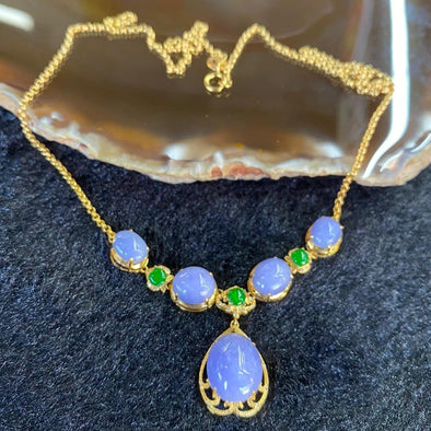 18k yellow gold lavender jade jadeite necklace