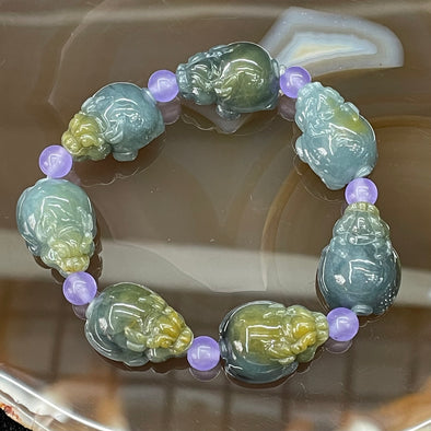 Type A Burmese Jade Jadeite Icy Blueish Green Dragon Tortoise Bracelet - 43.78g 21.0 by 12.0 by 15.7mm each 7 pieces
