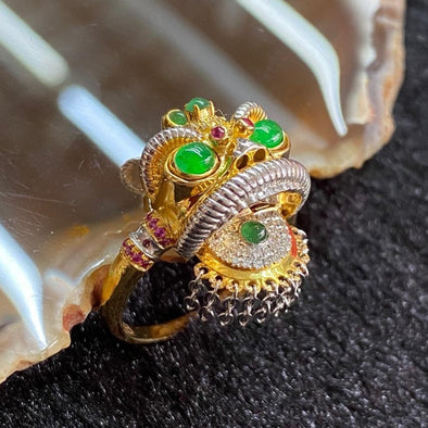 18K customised Moveable Wu Shi Lion Head Ring - 6.00g 13.1 by 22.5 by 8.3mm US6.25 HK14