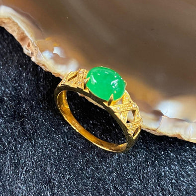 Type A Burmese Jade Jadeite Ring 18k yellow gold - 2.31g Imperial Green Jade 7.8 by 6.1 by 3.3mm Inner diameter 17.2mm US6.75 HK14.5