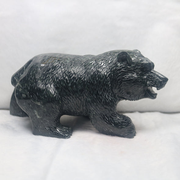 Black Jadeite Jade Bear Feng Shui House Protection Display