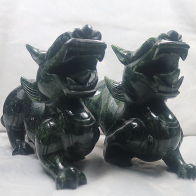 Black Jadeite Jade Pi Xiu Tian Lu Display Pair Wealth & Protection