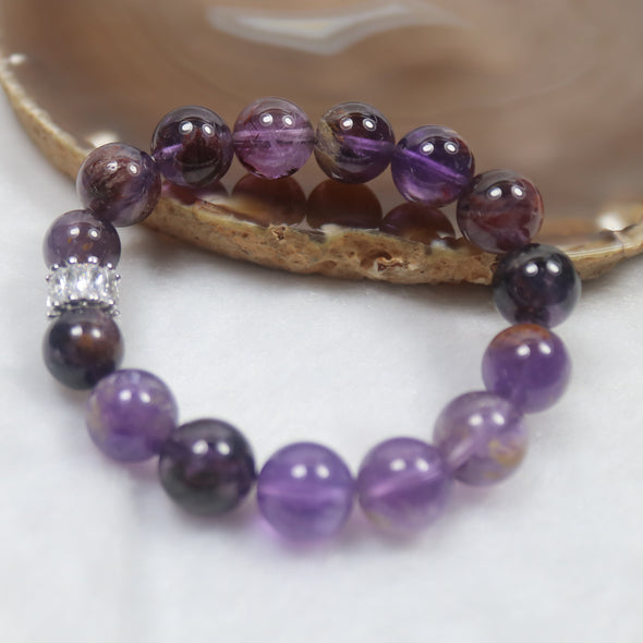Natural Amethyst Phantom Quartz Beads Bracelet - 34.38g 11.8mm/bead 15 beads