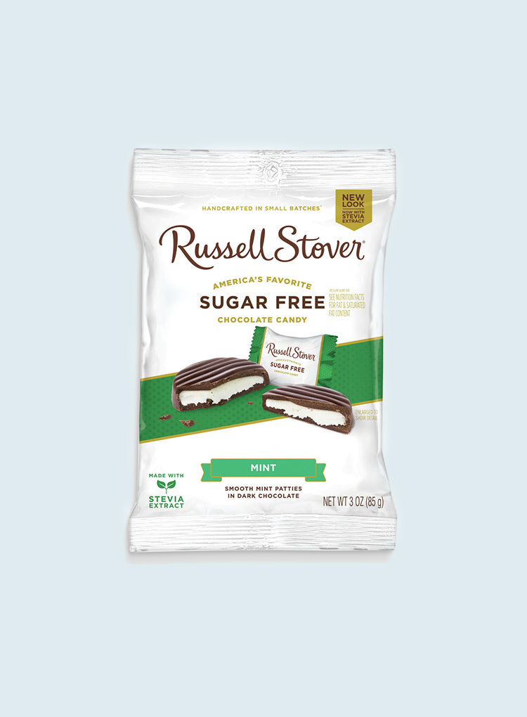 Candy Corner Russell Stover Sugar Free Mint Patties Dark Chocolate Peg Bag