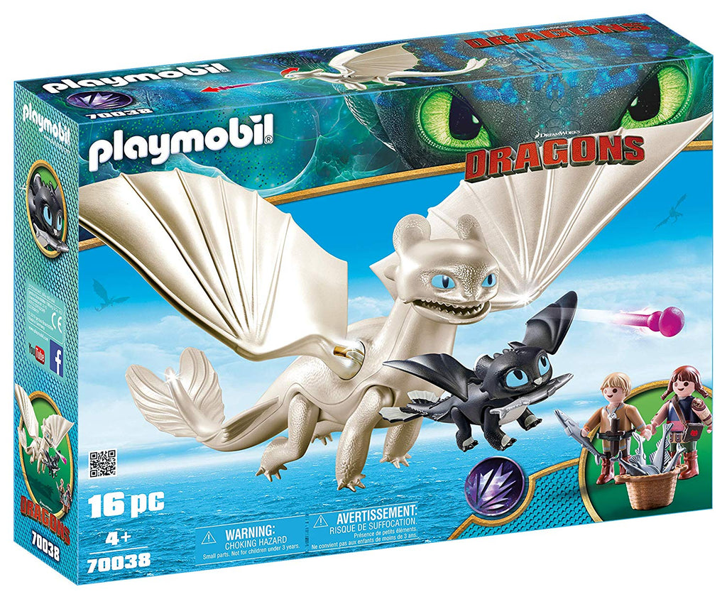 Dreamworks Light Fury with Baby Dragon and Children