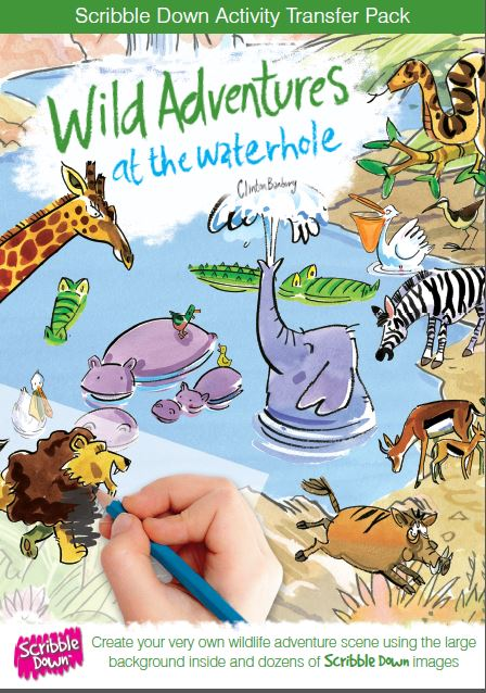 Scribble Down Transfer Activity Pack - Wild Adventures at the Waterhole
