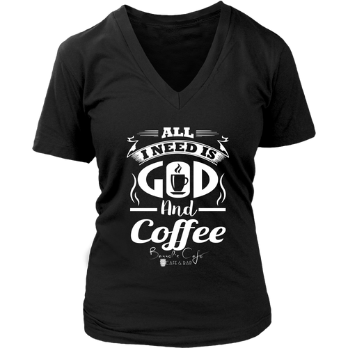 GOD & COFFEE WOMEN V-NECK