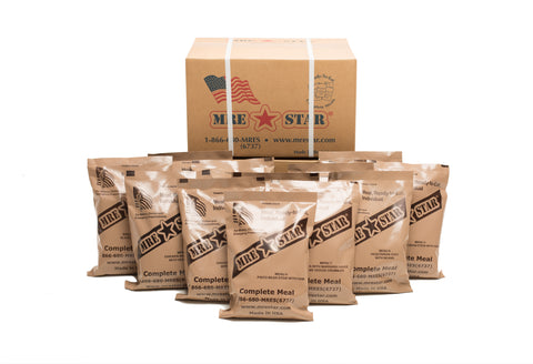 Case of MRE Star MRE Meals ready to eat Case with meals visible