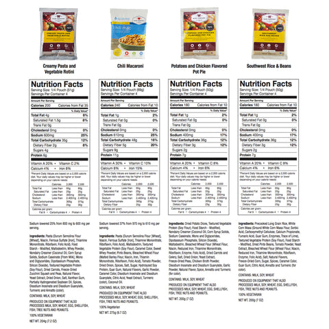 Wise Foods Nutrition Info Freeze Dried Food Supply 1 Year