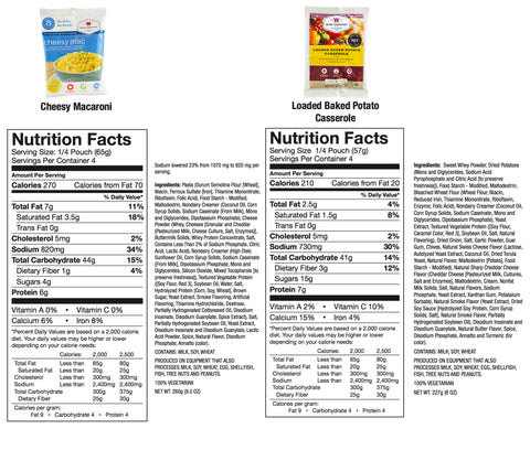 Wise Food Co Nutritional Info one year Freeze dried  food supply