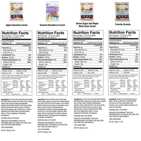 1 year Freeze dried food supply Nutritional Information