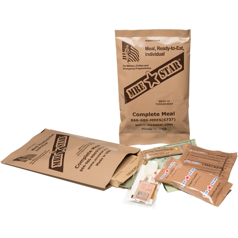 Image of 10 x MRE Star Case of 12 Single Complete MRE Meals - Standard Variety without Heaters M-018 plus FREE Survival Backpack