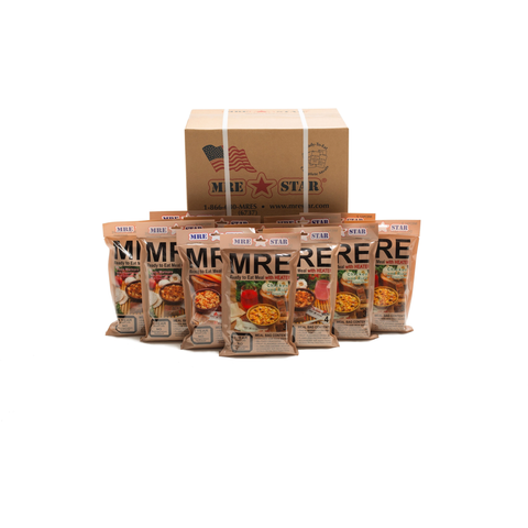 36 x MRE STAR MRE Meals Ready to Eat Vegetarian Case 12 (with Heaters) M-018HV best for 2020 with 2x Free Survival Backpacks and Free delivery