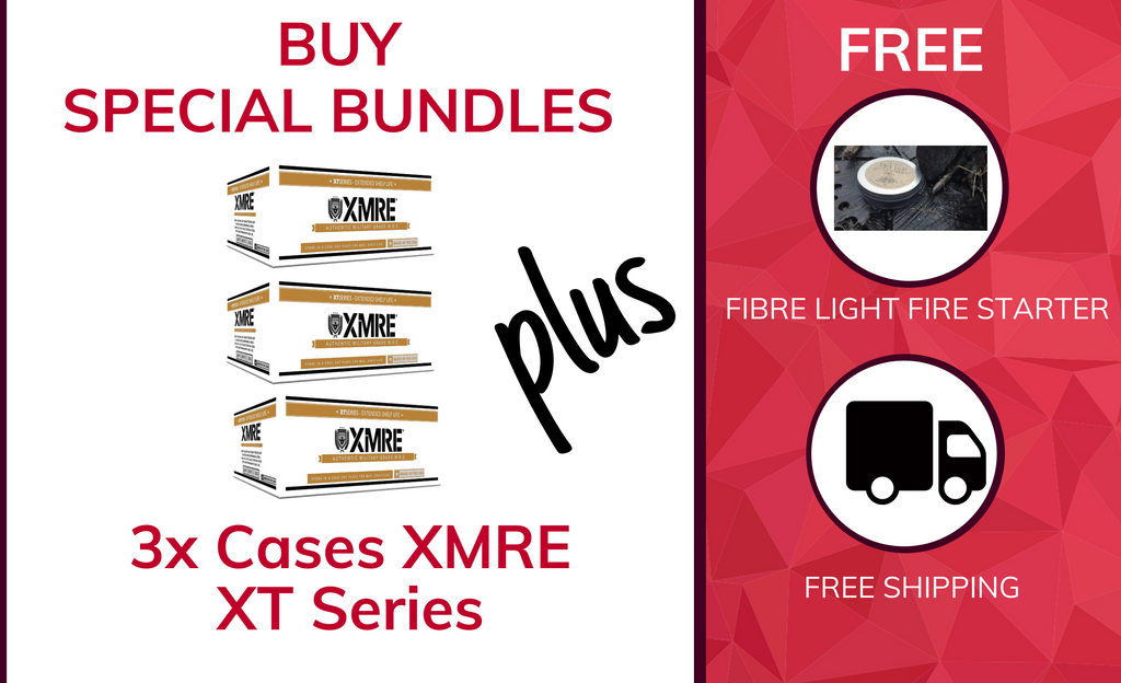 3x Cases XMRE MRE Meal Ready to Eat 1300XT - CASE OF 12 FRH - 12 MENUS + FREE Fibre light fire starter + FREE SHIPPING