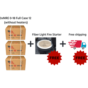 3 x MRE Star Case of 12 Single Complete MRE Meals - Standard Variety without Heaters M-018 + FREE Fibre light fire starter + FREE SHIPPING