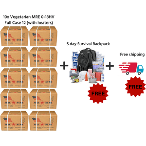 MRE STAR, 10 x MRE STAR MRE Meals Ready to Eat Vegetarian Case 12 (with Heaters) M-018HV best for 2020 with Free Survival Backpack and Free delivery, [product_sku], MySurvivalPrep - MySurvivalPrep