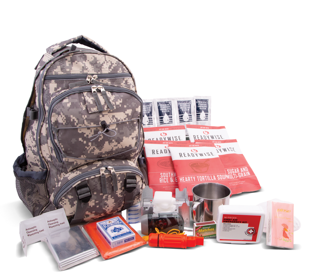 Ready Wise Foods Survival Back Pack 64 piece for 1 Adult RW01-622GSG(CAMO)