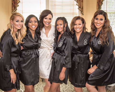 Black Custom Embroidered Monogram Bridal Robes