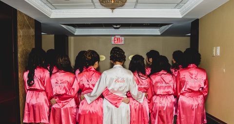 Coral Bridal Party Satin Robes