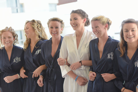 Interlocking Bridesmaids in Getting Ready Robes