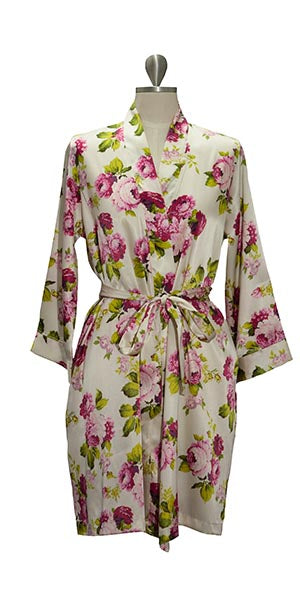 Plain Floral Satin Robe