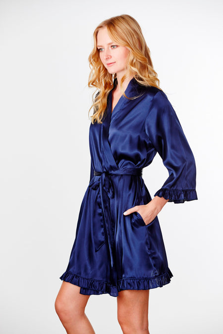 Embroidered Satin Robe