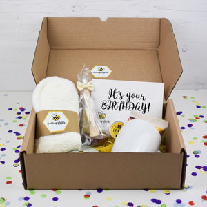 Beehappy birthday gift boxes beehappygifts hot chocolate fluffy socks lip balm and lavender tree beehappy gift box negle Image collections