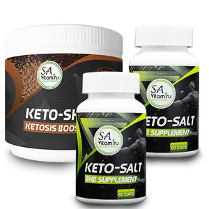 2 x Keto-Salt BHB Supplement 60 Caps + 1 x Keto Shake Col/MCT Cocao 300gram