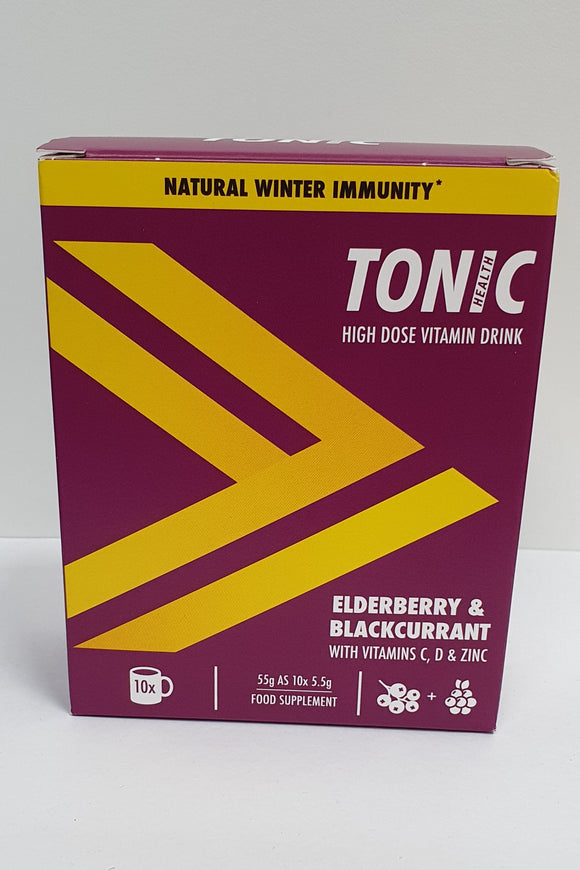 Tonic Health Elderberry & Blackcurrant High Dose Vitamin Drink with Vitamins C, D & Zinc 55g as 10 Sachets x 5.5g