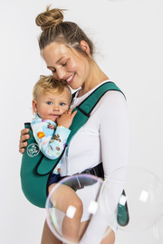 Frog Orange Explorer baby Carrier - Deep Green - side view showing comfortable sitting position
