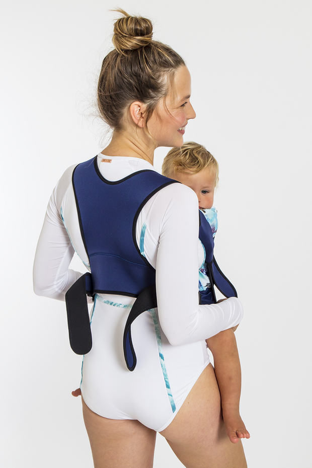 Frog Orange Explorer baby Carrier - Luxe Navy - stylish and comfortable racer-back design