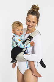 Frog Orange Explorer baby Carrier - Silver Mist - a lightweight and convenient baby carrier