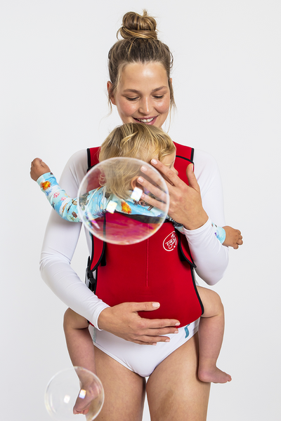 Frog Orange Explorer baby Carrier - Bright Red - front view showing ergonomic sitting position
