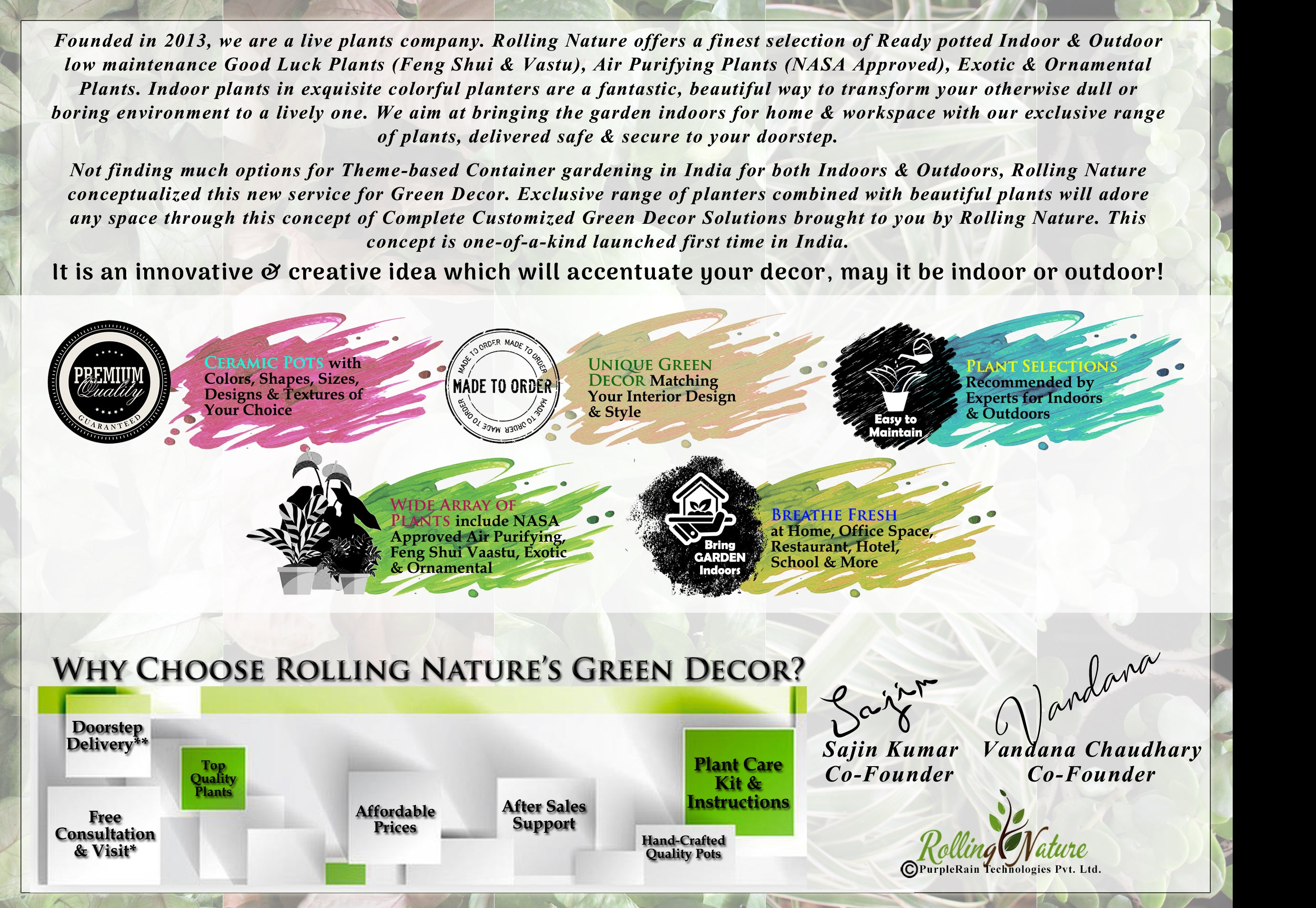 Rolling, Nature, Plants, Company, India, Online, Indoor, Best, Houseplants, Green, Gifts, Gifting, Decor, Good Luck, NASA, Feng Shui, Vandana, Chaudhary, Sajin, Kumar, Co-Founder, Founder, Pune