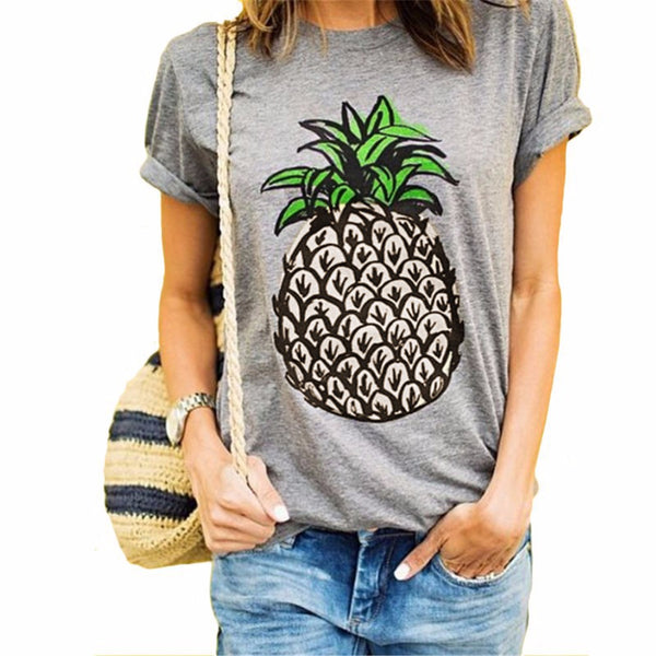 Women T Shirt Short Sleeve Pineapple Gray/White