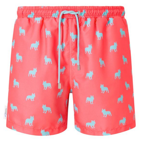 Coral and pale blue swim shorts