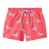Coral dachshund boys swim shorts