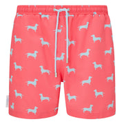 Coral Blue Dachshund Swim shorts trunks mens swimwear
