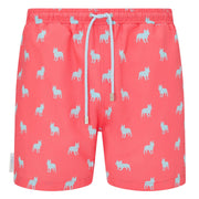 Coral Blue French bulldog Swim shorts trunks mens swimwear