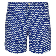 Navy White Dachshund Swim shorts trunks mens swimwear