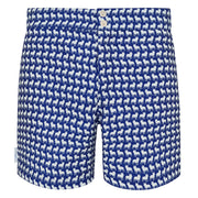 Navy White French Bulldog Swim shorts trunks mens swimwear