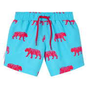Blue Pink Tiger Swim shorts trunks kids swimwear child