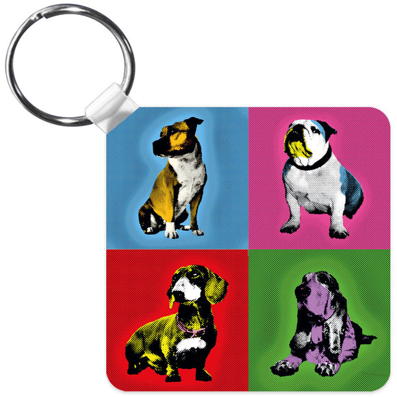 Great British Pub Dogs Andy Warhol Bulldog Dachshund Staffie Basset Hound Key Ring