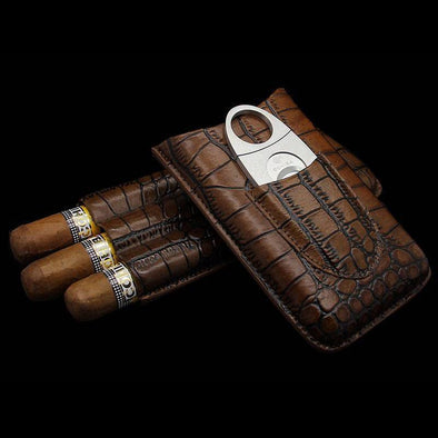 Genuine Crocodile Skin Cigar Case