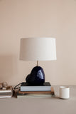 Hebe Lamp Small - Deep Blue with Natural Lampshade