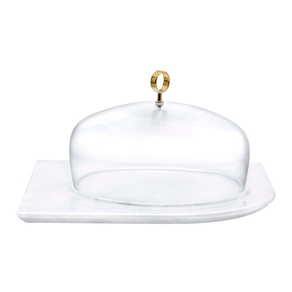 Cupola Cake Dome Large with Brass Handle and Marble Base